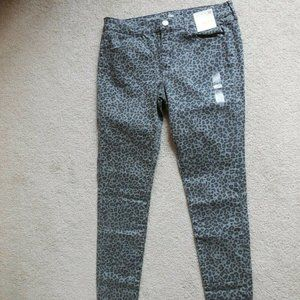 SO Low Rise Leopard Stretch Twill Jeggings 13 Gray
